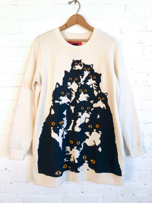 Crazy Kitty Sweatshirt Creme