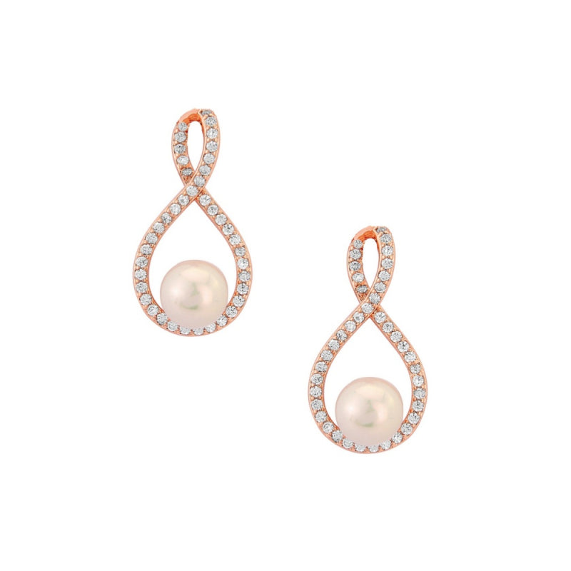 Faux pearl and rhinestone earrings in rose gold colour