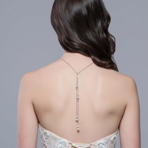 Pearl backdrop necklace. Perfect for a backless bridal gown