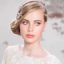 Load image into Gallery viewer, bridal hair pin in rose gold with leaf detail