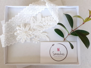 lace wedding garter with flowers