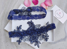 Load image into Gallery viewer, Michelle Navy Blue Garter Set