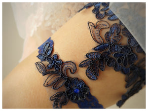Michelle Navy Blue Garter Set