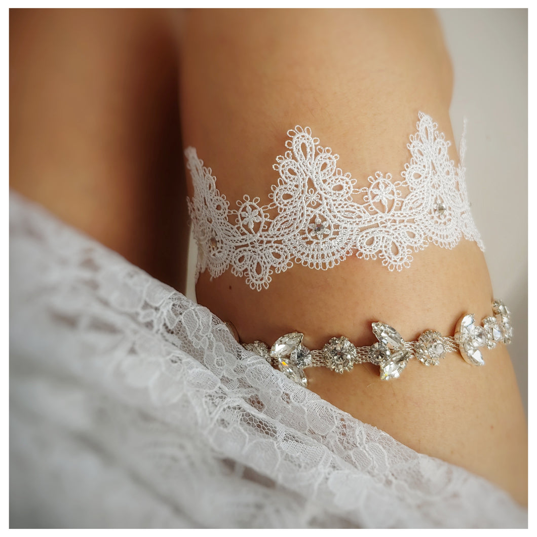 garter set with one lace garter and sparkle garter