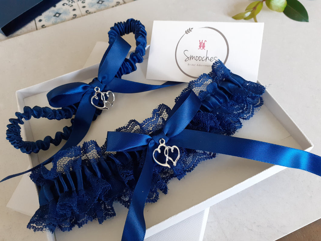 blue garter, garter set, throw garter, satin and lace garter, hearts