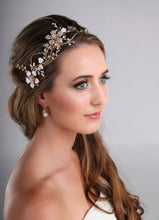 Load image into Gallery viewer, Floral design hair adornment in rose gold