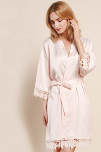 Champagne Satin and Lace Robe
