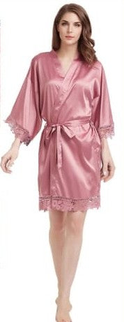 Dusty Pink Satin and Lace Robe