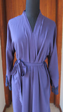 Load image into Gallery viewer, Navy cotton robe with lace edge