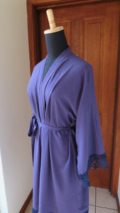 Navy cotton robe with lace edge
