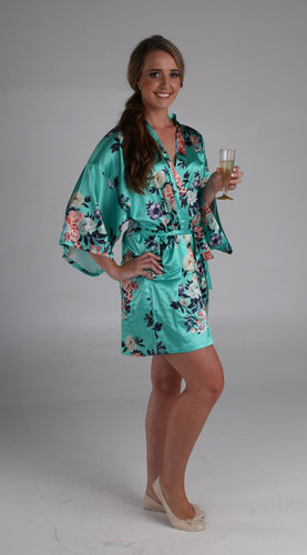 Bridesmaid Dressing Gown/ Bridesmaids Robe-Green