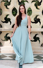 Load image into Gallery viewer, Model wearing a Smooches Bridal infinity dress in a sage green colour.