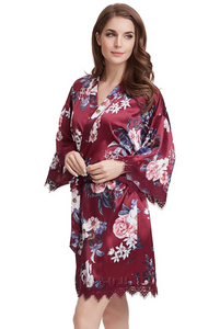 Burgundy floral satin and lace robe