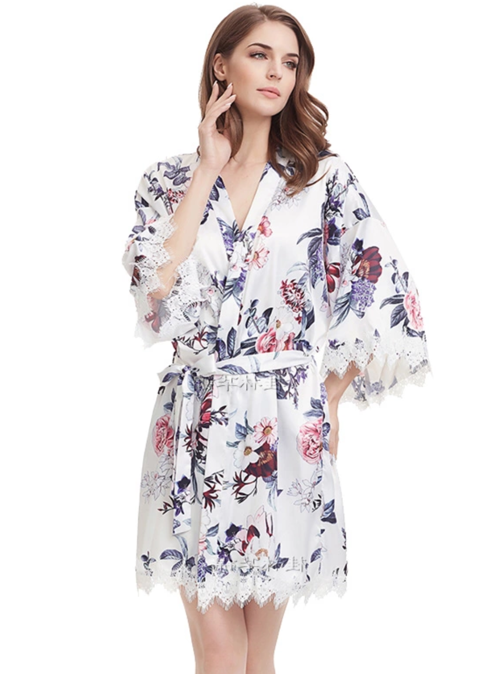 White floral satin and lace robe