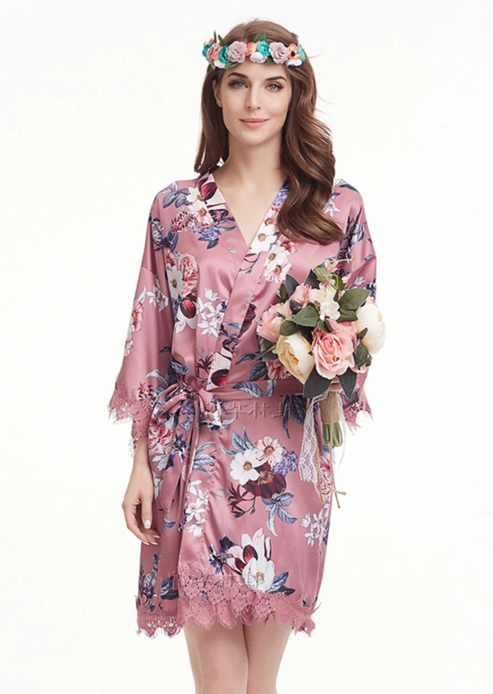 Rose Pink Floral Satin and Lace Robe