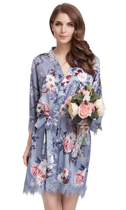 Dusty Blue floral satin and lace robe