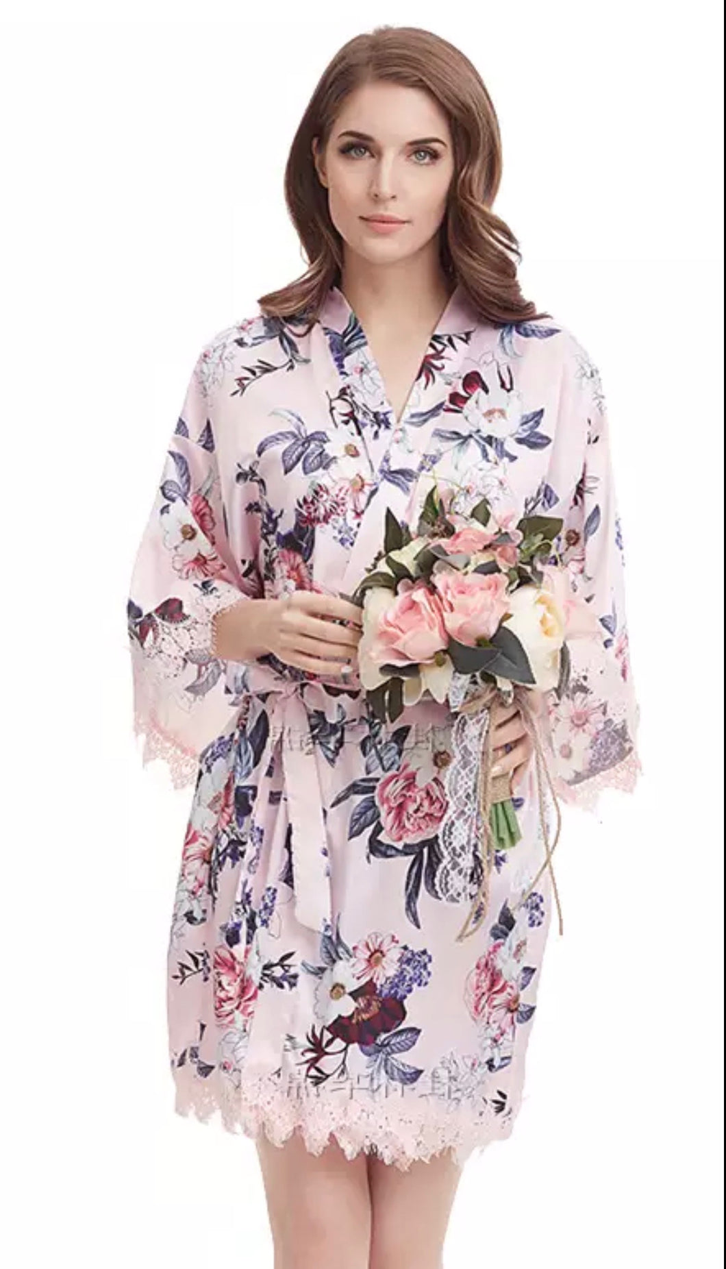 Pink floral satin and lace robe