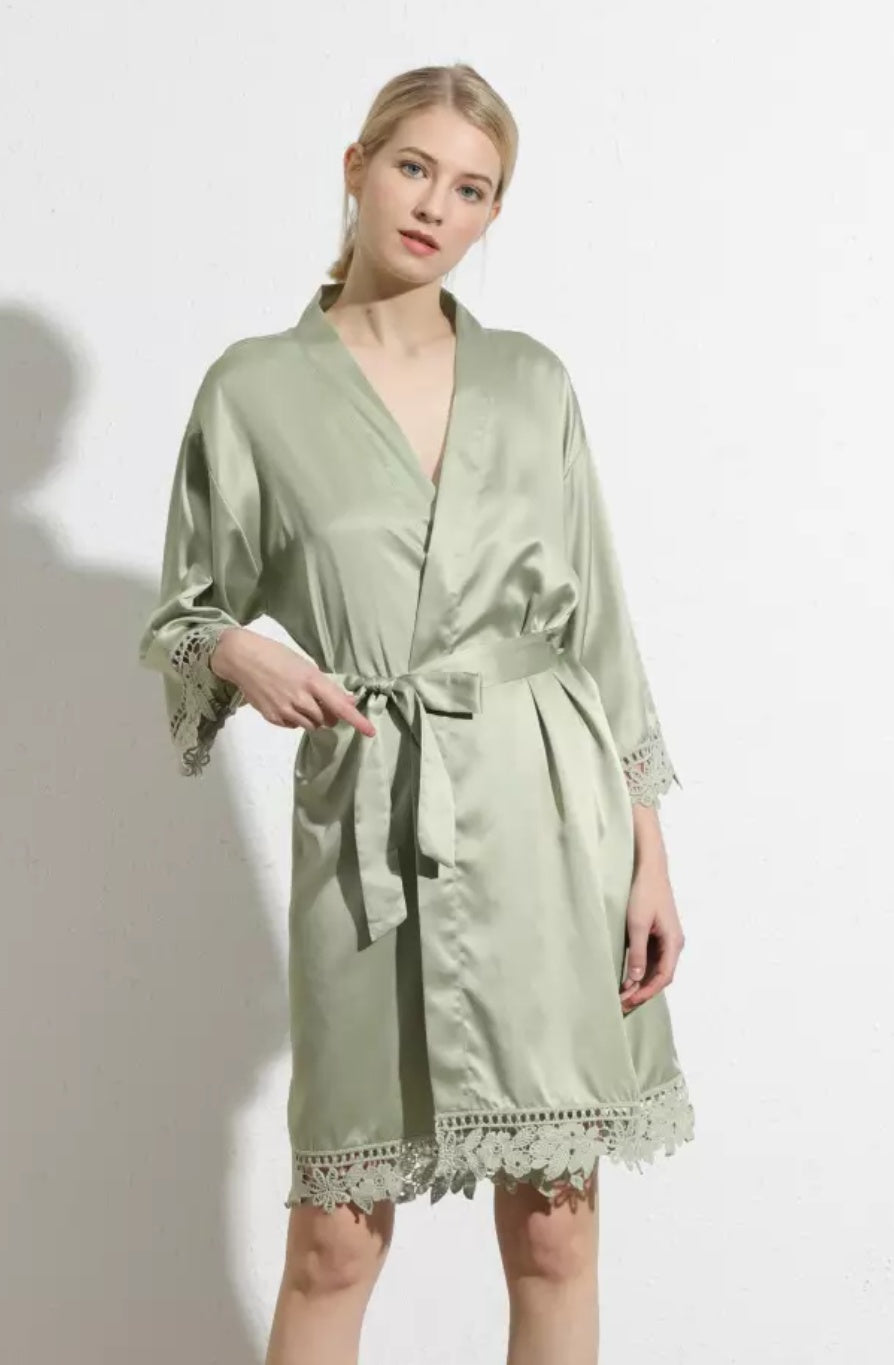 Sage Satin and lace Robe