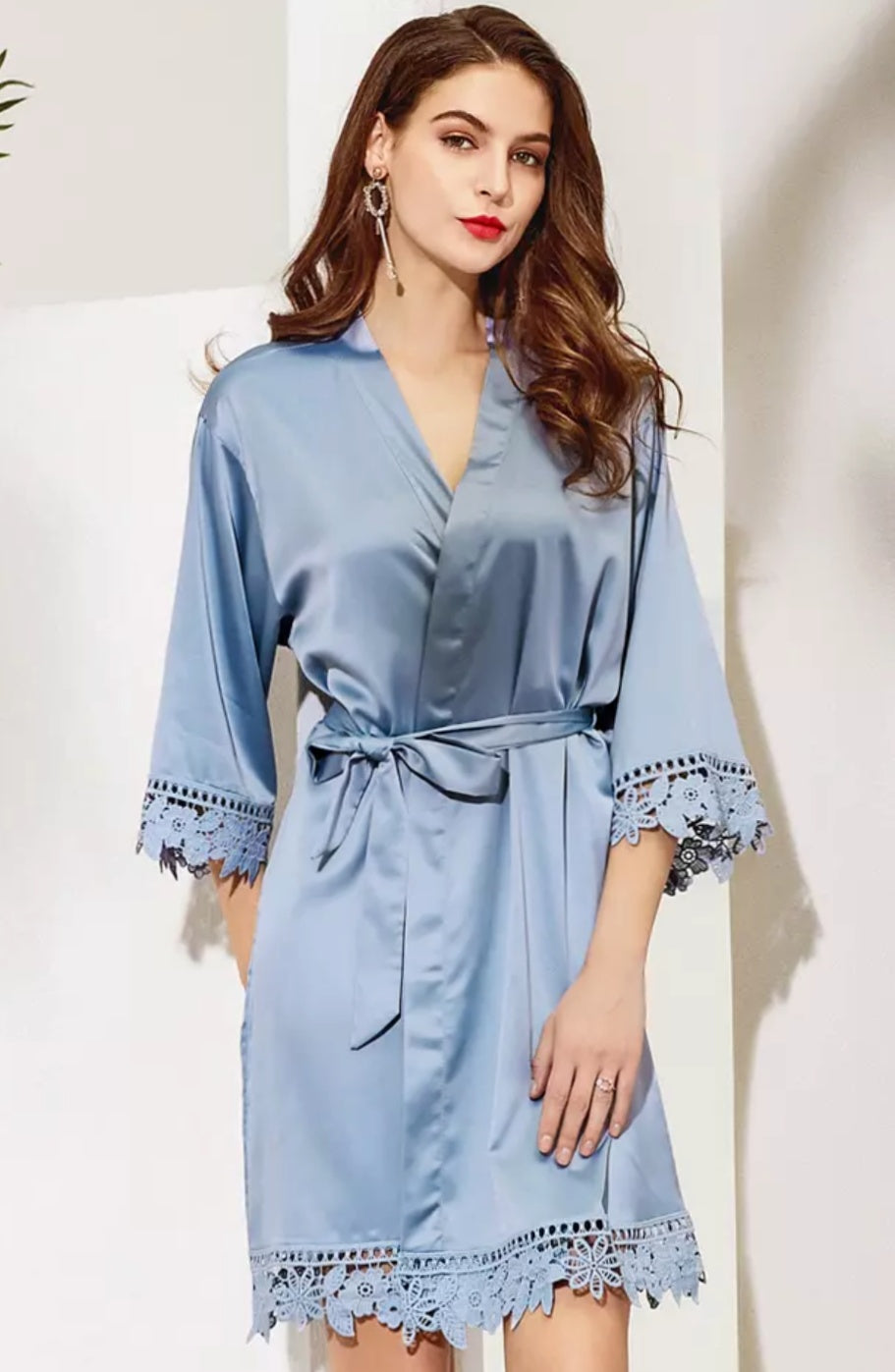 dusty blue satin and lace robe