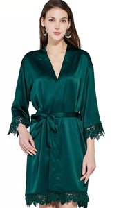 Forest Green Satin and lace Robe
