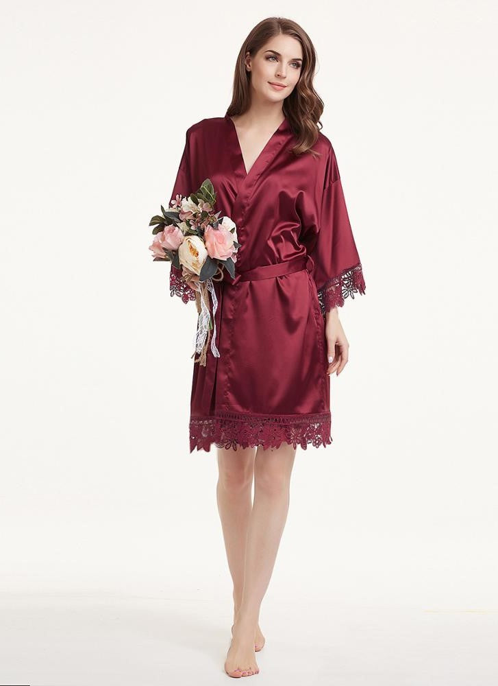 Burgundy satin and lace robe