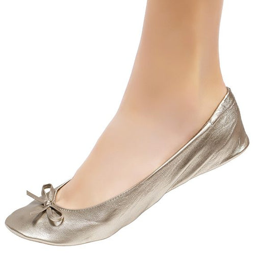 Cinderollies- Foldable flat bridal shoes- Champagne
