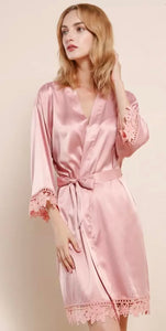 Blush satin and lace robe