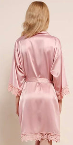Blush satin and lace robe back