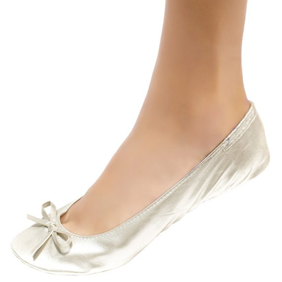 Cinderollies- Foldable flat bridal shoes-Pearl