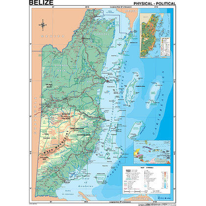 Belize Map Physical & Political Plastic