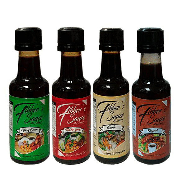 Fibber's Sauce - Assorted 50ml - Garlic, Spicy Onion, Hot & Spicy, Original (4436504707177)