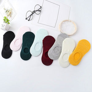 Urgot 10 Pairs Women's Socks 8 Colors Silicone Anti-skid Invisible Boat Socks Summer Cotton Korean Candy Color Socks Calcetines