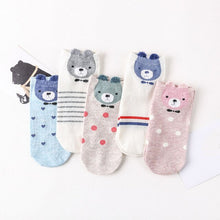 Load image into Gallery viewer, Urgot 5 Pairs New Arrivl Women's Cotton Socks Pink Cute Cat Ankle Socks Short Socks Casual Animal Ear Red Heart Gril Socks 35-39