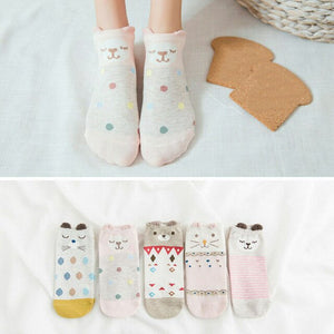Urgot 5 Pairs New Arrivl Women's Cotton Socks Pink Cute Cat Ankle Socks Short Socks Casual Animal Ear Red Heart Gril Socks 35-39