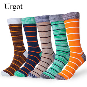 Urgot 5 Pairs Mens Socks Large Big Plus Size 45,46,47,48 Crew Long Tube Socks Spring Autumn Cotton Thickening Male Happy Socks