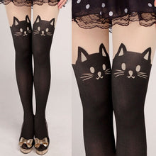 Load image into Gallery viewer, 1 Pair Women's Tall Girls Lady Cartoon Fake Pantyhose Wild Child Stitching Bottoming Barreled Stretch Tights Cat Print Stockings