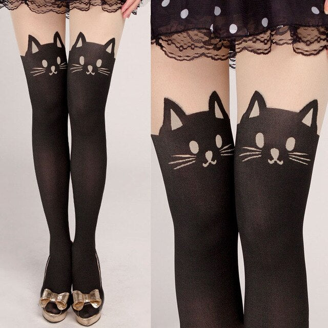 1 Pair Women's Tall Girls Lady Cartoon Fake Pantyhose Wild Child Stitching Bottoming Barreled Stretch Tights Cat Print Stockings