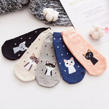 Load image into Gallery viewer, Urgot 5 Pairs Women's Socks Candy Color Small Animal Cartoon Pattern Boat Sock for Summer Breathable Casual Girls Funny Fashion
