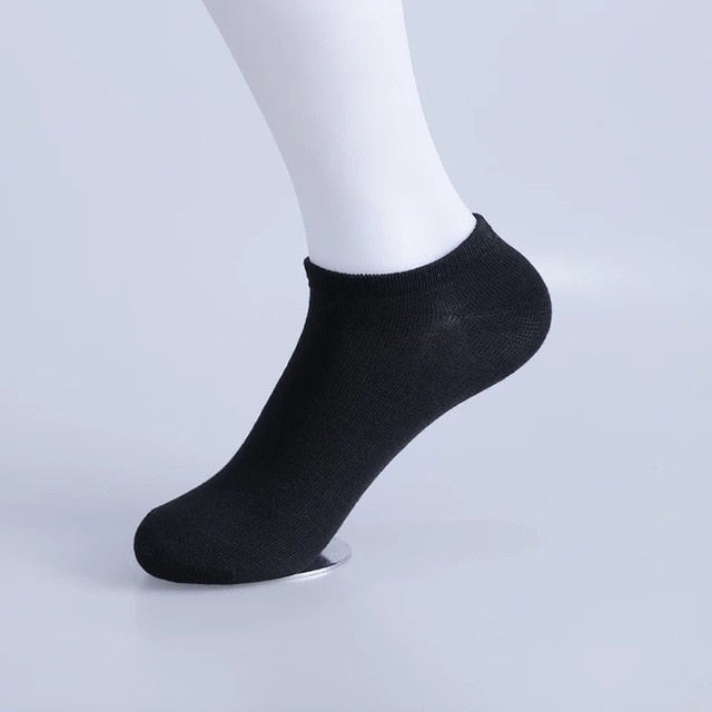 Urgot 10 Pairs Men's Socks Breathable Sports Socks Solid Color Boat Socks Comfort Cotton Ankle Socks Men White Black Calcetines