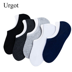 Urgot 5 Pairs Men's Socks Boat Non-Slip Invisible Nonslip Low Cut Soft Breathable Cotton Silicone Slip Summer Autumn Short Socks
