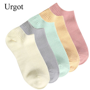 Urgot 5 Pairs Women's Socks Pure Cotton Double Needle Spring Summer Socks Cotton Candy Color Female Boat Socks Calcetines Mujer