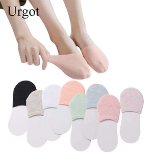 Urgot 5 Pairs Summer Semi Palms Boat Socks Cotton Solid High-heeled Shoes Invisible Women Socks Breathable Casual Ladies Funny
