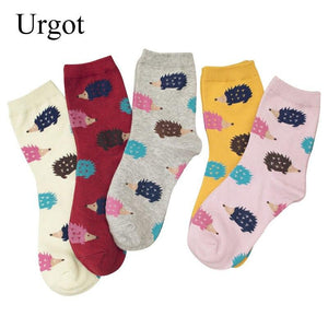 Urgot 5 Pairs Women's Socks Funny Happy Cartoon Hedgehog Pattern Socks Women Combed Cotton High Quality Sock Calcetines Mujer