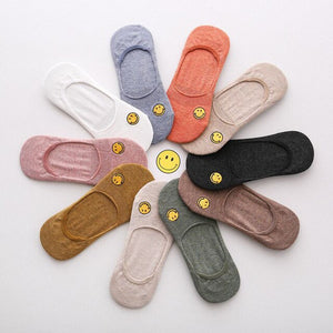 Urgot 5 Pairs Women's Socks 10 Color Cotton Smiling Face Embroidery Socks Summer Autumn Invisible Silicone Anti-skid Female Sock