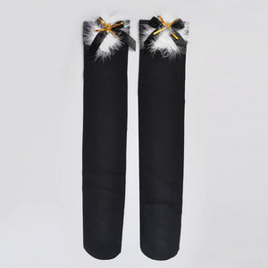 Urgot 1 Pair Womens Bow Sexy Christmas Stockings Girls Cute Thigh High Long Stockings Knitting Over Knee Ladies Calcetines Mujer