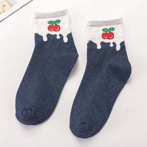 Urgot 5 Pairs Women's Socks Funny Cute Cartoon Fruit Strawberries Japanese Cute Sweet Cotton Socks Women Ladies Meias Calcetines