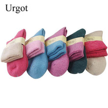 Load image into Gallery viewer, Urgot 5 Pairs Women's Cashmere Terry Socks Thickened Mid-tube Rabbit Wool Socks Women Solid Color Winter Socks Warm Towel Socks