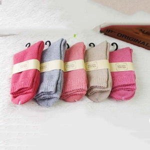 Urgot 5 Pairs Women's Cashmere Terry Socks Thickened Mid-tube Rabbit Wool Socks Women Solid Color Winter Socks Warm Towel Socks