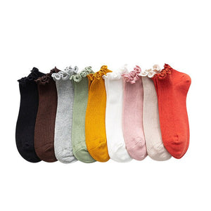 Urgot 5 Pairs Lace Ins Tide Socks Womens Ladies Shallow Mouth Fungus Korean Cotton Cute Summer Boat Socks Thin Solid Color Girls
