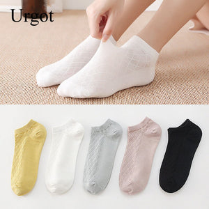 Urgot 5 Pairs Women's Spring Summer New Cotton Thin Mesh Ladies Socks Solid Color Female Sock Japanese Candy Color Socks Meias